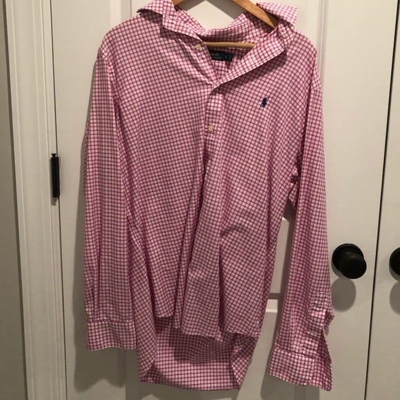 Polo shirt button up longsleeve red/white shirt